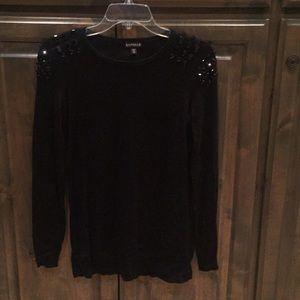 Express Beaded Jeweled Black Sweater S $49!!